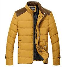 New Mens Zip Winter Warm Padded Thicken Collar Coats Parka Jackets Yellow N158