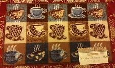 """PRINTED KITCHEN RUG (nonskid latex back) (17"""" x 28""""), 15 COFFEE CUPS, bl. by BH"""