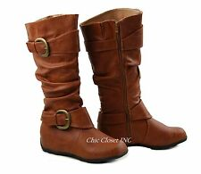 Womens Tall Faux Leather Buckle Riding Slouchy Comfy Mid Calf Flat Heel Boots