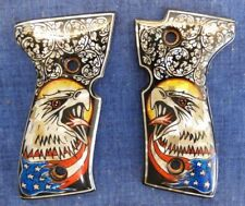 Beretta 92 Eagle Flag Scroll Mother of Pearl Inlay Full Size Grips Nos Usa Ship