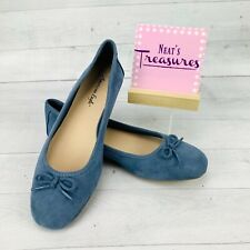 American Eagle AEO Womens Light Blue Suede Slip On  Ballet Flats Bow  Size 7