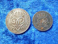 Sweden Mid 20th Century Iron Coins Pair - 1 & 2 Ore - Fine