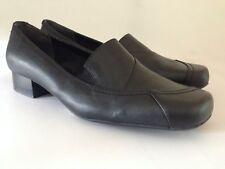 Clarks Women's Block Heel Square Toe Slip On Black Casual Court Shoes UK 6