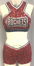 VINTAGE PRO-CHEER/PRO-DANCE RED WITH NAVY+SILVER 2-PIECE TOP + SHORT -- Size M