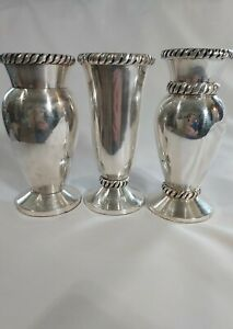 """3 x Pottery Barn Twist Bud Vases Silver Plated 5 """""""
