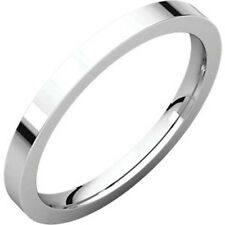 2mm Solid Platinum Plain Flat Heavy Weight Thick Wedding Band Ring Size 4