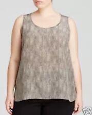 1X NWT $288 Eileen Fisher Plus Diamond Print Silk Crepe de Chine Tank Stone