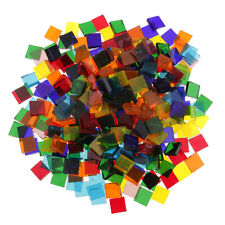 160g Mixed Color Square Clear Glass Piece Mosaic Tiles Craft Tessera 10x10mm