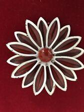Vintage Burgundy White Enamel Dahlia Flower Pin Brooch
