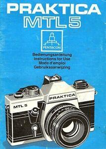 Original Instruction book for PRAKTICA MTL5  35mm. SLR    ( EFGN)