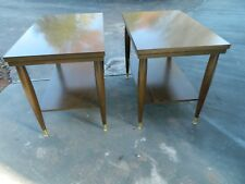 Mid Century Mersman Two Tiered End Table Set Walnut Flormica Top Set