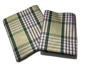 Ralph Lauren Pillow Shams Set of 2 24 x 32 Queen Green Purple Plaid Cotton