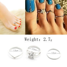 Women Punk Style Finger Foot Jewelry 3Pcs Celebrity Silver Plated Daisy Toe Ring