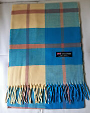 100% Cashmere Scarf Blue Yellow Check Plaid Made in Scotland SOFT Warm NEW