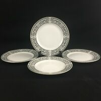 "Set of 4 VTG Salad Plates 7 1/2"" Sheffield Corinthian White Black Scrolls Japan"