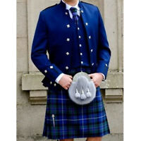 Sheriffmuir Doublet Jacket & Waistcoat Blue Custom Made Wedding Kilt Jacket