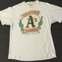 Vtg 90s Oakland Athletics A's Cactus League Distressed Shirt L Faded USA Grunge