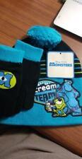 Disney Pixar Beanie Monsters Inc Blue Winter Hat Glove Combo Toddler (B64)