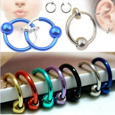 Fake & Cheater Nose Ring Clip On Ball Ear Cuff Stud-Eyebrow-Lip-Helix-Septum