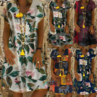 Women Boho Floral Printed Mini Dress V neck Short Sleeve Loose Beach Sundress