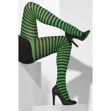 Ladies Black Green Striped Tights Wicked Witch Elf Clown  Smiffys