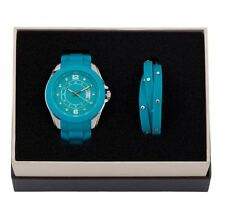 DSE 5122584 Blue Watch with Bracelet Silicone Set Swarovski Crystal Authentic