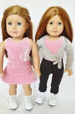 "Doll Clothes Fit AG 18"" Gymnastic Velour Pink Pants Made For American Girl Dolls"