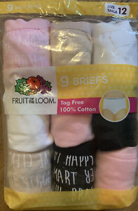 """GIRL'S NIP SIZE 12  """"FRUIT OF THE LOOM""""  9 PACK TAG FREE BRIEFS 100% COTTON"""