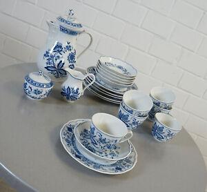 Tirschenreuth Echt Kobalt Blau Kaffee Service 23 tlg. 6 Personen Zwiebelmuster