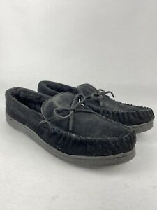 Route 66 Mens Black Faux Fur Lined Leather Moccasin Rubber Sole Slipper SZ 12D