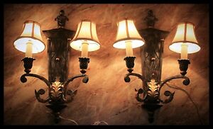 Wall Lamps Scones Vintage Pair 2 bulbs with Shades Ornate Ceramic Iron