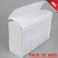 Folding Paper Towels WHITE Janitorial 4000 Case 1-Ply Commercial Disposable Bulk