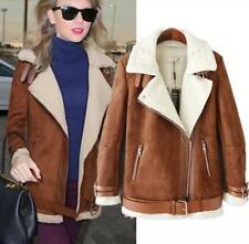 Women winter motorcycle suede leather coat jacket fur lining jacket coat outwear
