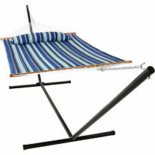 Sunnydaze Quilted Spreader Bar Hammock Bed with 15' Stand - Catalina Beach