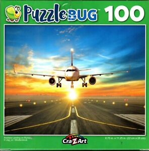 Airplane Landing on Runway - 100 Piece Jigsaw Puzzle
