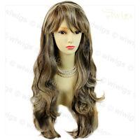 Sexy Beautiful Layered wavy Blonde Brown mix Long Ladies Wigs Skin Top Wig UK