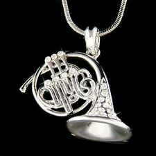 FRENCH HORN made with Swarovski Crystal Brass Music Musical Instrument Necklace