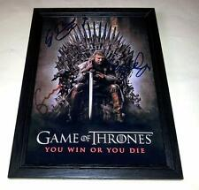 "GAME OF THRONES CAST X3 PP SIGNED & FRAMED 12""X8"" POSTER SEAN BEAN"
