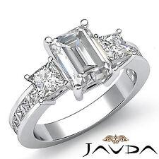 Women's 3 Stone Classic Emerald Diamond Engagement Ring GIA G SI1 Platinum 2.1ct