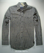 American Eagle Mens Navy Blue Checkered Western Shirt XL NWT