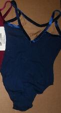 NWT Camisole V Back Leotard Cotton Lycra Velvet Trim many colors child adult