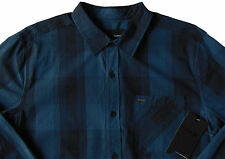 Mens HURLEY Tonal Blue Plaid Long Sleeve L/S Shirt XL X-Large NWT Nice!
