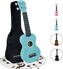 Soprano Ukulele Beginners 4 String Ukulele Guitar 21 inch w/ Gig Bag Light Blue