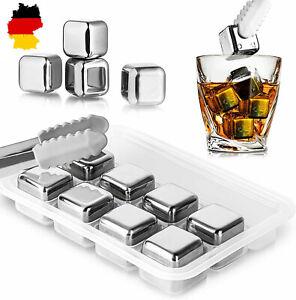 6-10 tlg Premium Edelstahl Eiswürfel Whisky Steine Kühlsteine Bar Drink Gifts DE
