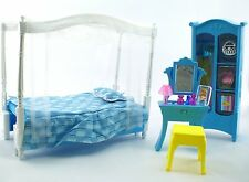 Bed Room with Make up Vanity Clothing Closet Barbie Size Furniture Doll Bed