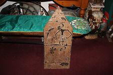 Antique African Hindu Spiritual Wood Carving On Board-Animals In Battle-Strange