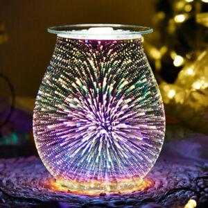 Electric Wax Melter 3D Firework Glass Candle Warmer Melt Burner Fragrance Home