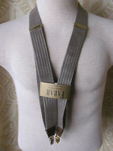 Mens FARAH Classic Beige Suspenders With Gold Tone Hardware One Size