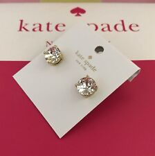 NEW Authentic Kate Spade Clear 14k Gold Fill Gum Drop Studs Earrings + dust bag