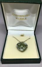 """Connemara Marble Heart Necklace Sterling Silver 18"""" New."""